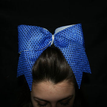 3 Texas size royal blue sequin cheer bow by SpiritCheerBows211