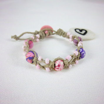Adjustable Pink Beaded Hemp Bracelet Natural Hippie Boho Jewelry