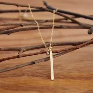 Thin Vertical Line Gold or Silver Bar Stick Necklace - Delicate Simple Modern Jewelry - UN by 5050 Studio