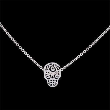 GORGEOUS TALE 2017 Silver Choker Stainless Steel Body Chain Vintage Bijoux Sugar Skull Necklaces For Womens Men Mexican Jewelry