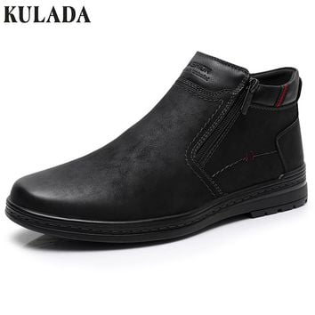 KULADA Hot Sale Boot Cow Suede Men's Winter Ankle Boots Men Warm Snow Boots for Double Zipper Side Boot Mens Casual Shoes 0613-7