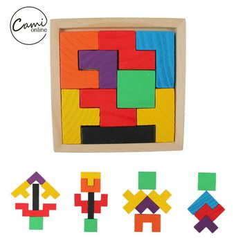 Kids Colorful Wooden Puzzle Toy Tetris Game Educational Toys Children Mental Development Jigsaw Board Baby Boy Girl Tangram Gift