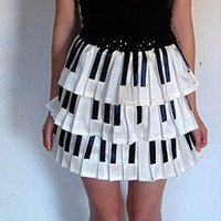 Piano Key Pleated Skirt