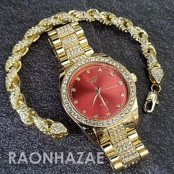 Raonhazae Hip Hop Iced Lab Diamond Red Face Drake 14K Gold Plated Watch with Rope Bracelet Set - GTR001