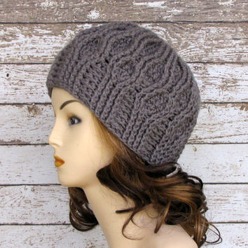 Platinum Crocheted Cable Beanie, Gray Woman's Winter Cloche