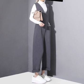 [TWOTWINSTYLE] 2017 spring new women vest jumpsuits v-neck female straight long pants