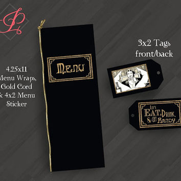 Great Gatsby Bachelor Party Invitations or for Your Special Event (Shown in Black/Gold/White)