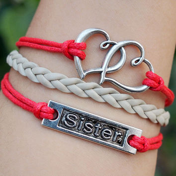 Sister bracelets, heart to heart charm leather bracelet Silver Color, Red & Grey wax cord Braid Best Bracelet Personalized Jewelry for Her