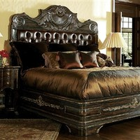 High end master bedroom set Carvings and tufted