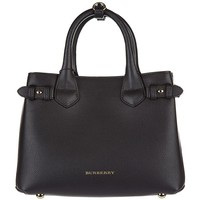 Burberry women's leather handbag shopping bag purse banner black