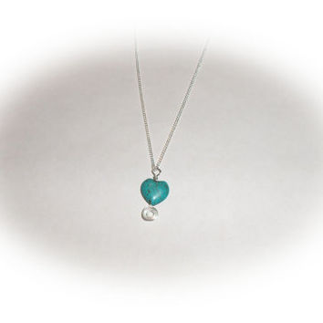 Wire wrapped Turquoise blue heart gemstone sterling silver necklace