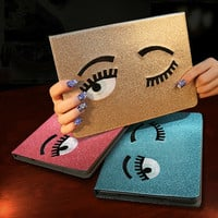 Waterproof Case For Apple iPad Mini 1/2/3 Glitter Shining Big Eyes Design Protective Cover For iPad Mini 4 Shell Wake up/Sleep
