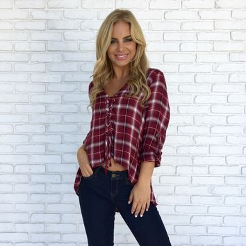 One More Time Plaid Top in Burgundy
