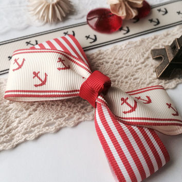 Navy style red hair bow french barrette, fabric, lace, girls bow, hair clip