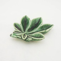 Wade Ceramic Leaf Shaped Dish, Wade Green Leaf Ring Dish, Wade Jewellery Dish