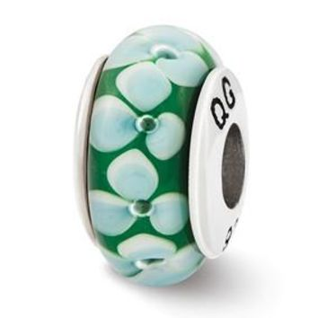 Sterling Silver Teal Flowers Hand Blown Glass Bead