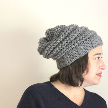 Gray Knit Beanie, Chunky Beanie, Chunky Knits, Beehive Beanie, Oversized Beanie, Hipster Beanie, Women's Accessories, Winter Beanie
