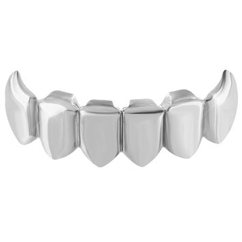 Hip Hop Mouth Grillz Top Teeth Caps 14K White Gold Finish Rapper Wear