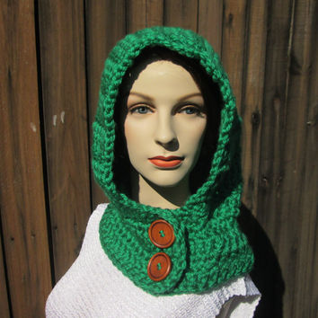 READY TO SHIP, Green Crochet Hooded Cowl Neck Hoodie, Crochet Hooded Scarf, Hoodie Scarf, Hooded Scarves, Scoodie Scarf, Hat Scarf