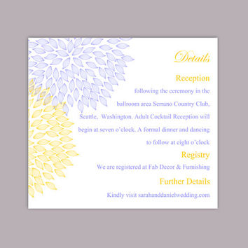 DIY Wedding Details Card Template Editable Text Word File Download Printable Details Card Blue Yellow Details Card Floral Information Cards