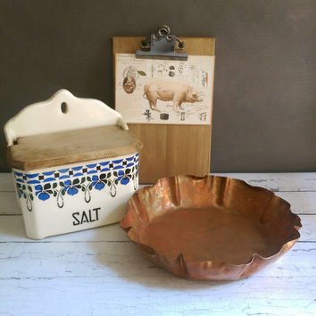 Vintage Copper Bowl/ Copper Pie Plate/ Vintage Pie Tin/ Hand Forged Copper Bowl/ Drumgold Copper Tray/ Copper Kitchen/ Copper Pan