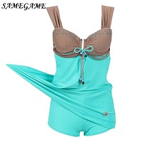 SAMEGAME Plus Size Swimwear 2018 New Arrival One Piece Swimsuit Large Size Retro Swimming Suit For Women Bathing Suits Swim Wear