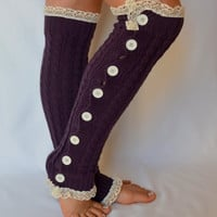 Leg warmers - purple cable knit slouchy open button down over the knee socks boot socks valentines day gifts