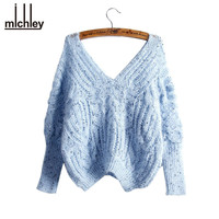 MICHLEY Sweater Women Bat Sleeve Pullovers Knit  Short V-neck Loose Shirt Student Sweaters Vrouwe Truien Camisola Malha New3211