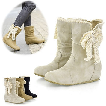 Women's Casual Fashion Bobbin Lace Half Boots Flattie Single Boots Shoes 9302 = 1945703556