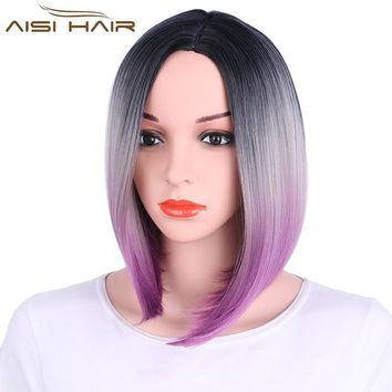 I's a wig Ombre Pink Blonde Grey Purple Bob Style Straight  Synthetic Wigs for Black Women  High temperature Fiber