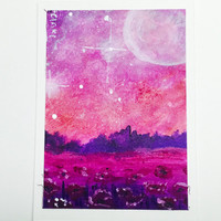 Original ACEO, Poppy Fields and Galaxy Sky Acrylic Painting, Artist Trading Card
