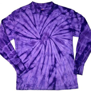 Buy Cool Shirts Mens Tie Dye Shirt Spider Purple Long Sleeve T-Shirt 2XL