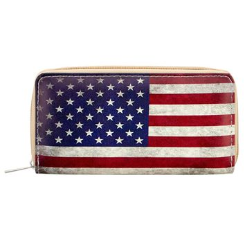 Sansarya 2018 New Fashion American USA Flag Print Long Woman Wallet Card Holder Women Men Wallet Zipper PU Leather Purse