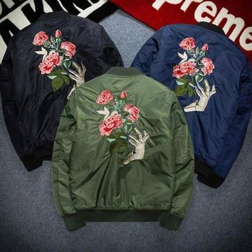 VONEFC2 Rose embroidery autumn winter women men loose large size cotton coat with thick jacket blue