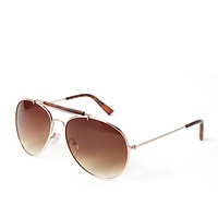 FOREVER 21 Jet-Set Aviator Sunglasses Gold/Brown One