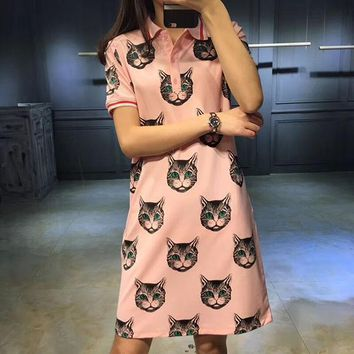 GUCCI summer dress with a new G cat print lapel dress for short sleeved dress T840