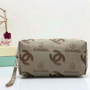 Chanel Fashion letter Cosmetic Bag Apricot I-LLBPFSH