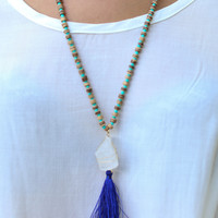 Beaded and Tassel Necklace - Multiple Colors