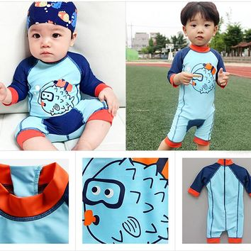Kids Baby Fish Long Sleeve One Piece Swimsuit With Cap Bathing Suit Beach Surf