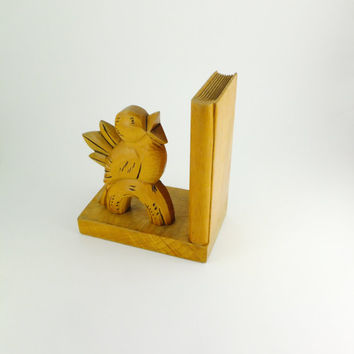 Vintage Wooden Bookend Wooden Bird with Wooden base Hand Carved Wood, Book End