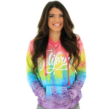 California Beach Script Rainbow Burnout Hoodie