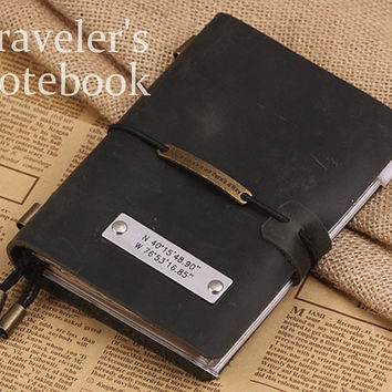 Personalized Leather Journal - Daily Travellers Notebook - Classic Style Journal Note Cover