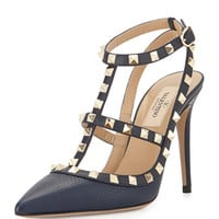 Valentino Rockstud Leather Sandal, Navy