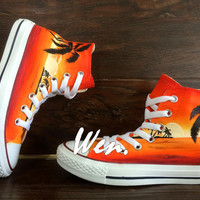 WEN Original Design Dusk Coconut Island style Converse Painted Shoes,Custom Art Gifts Christmas Gifts Birthday Gifts
