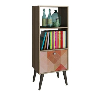 Sophisticated Sami Double Bookcase with 2 Open Shelves and 1- Drawer in Oak and a Coloful Stamp Door