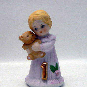 Growing Up Birthday Girls 1 Year Old Blonde Hair Baby Girl with Teddy Bear 1st Birthday Ceramic Doll Collectible Figurine by Enesco