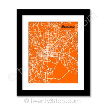 Baltimore, Maryland Street Map Wall Art - Choose Any Colors - twenty3stars