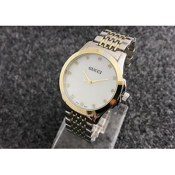 GUCCI steel strap around the diamond men and women watches F-Fushida-8899 Silver + gold - gold case
