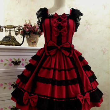 Hot Sale Red and Black Cotton JSK Sweet Lolita Dress for Girl