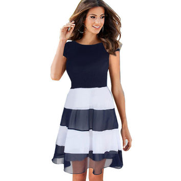 Sexy Women Sleeveless casual Color block Patchwork dresses Summer Mesh Chiffon Striped A Line Skater Pinup Cute Dress 776